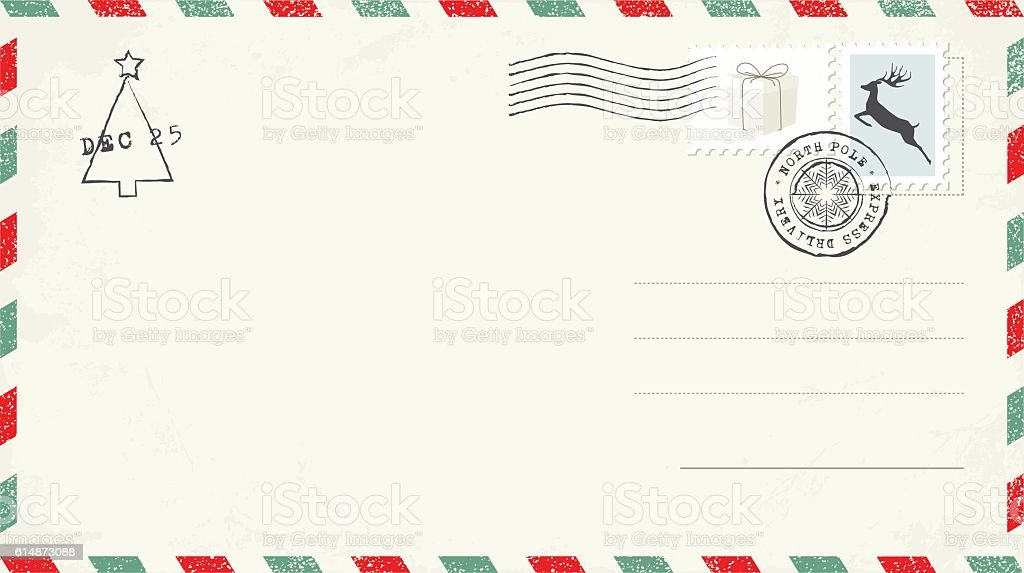 blank christmas postcard stock vector art more images of air mail