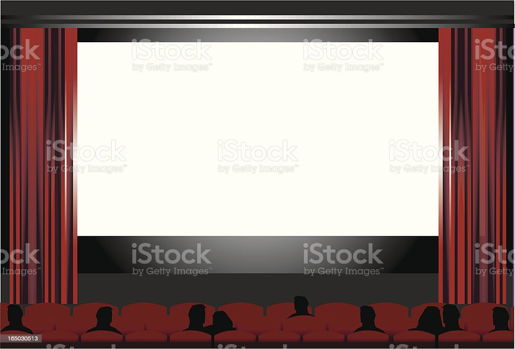 blank cinema screen, people at the movies   VECTOR vector art illustration