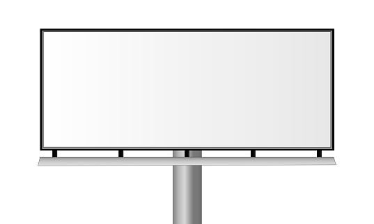 Blank city rectangular billboard isolated on white background - front view