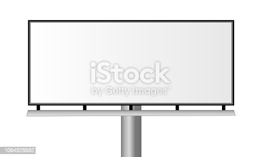 Blank city rectangular billboard isolated on white background. Mockup for advertising banners or design. Vector illustration