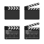 Blank Clapper Board Set on White Background. Vector