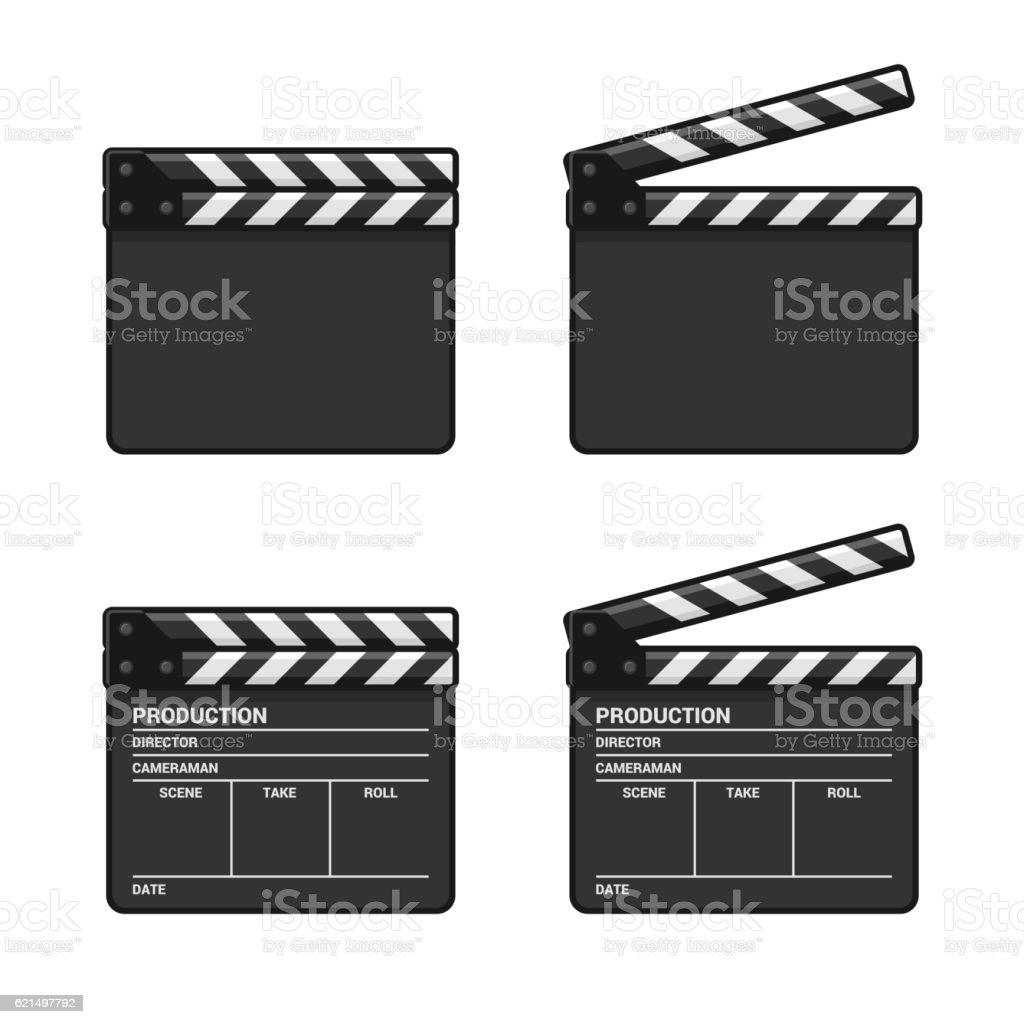 Blank Clapper Board Set on White Background. Vector vector art illustration