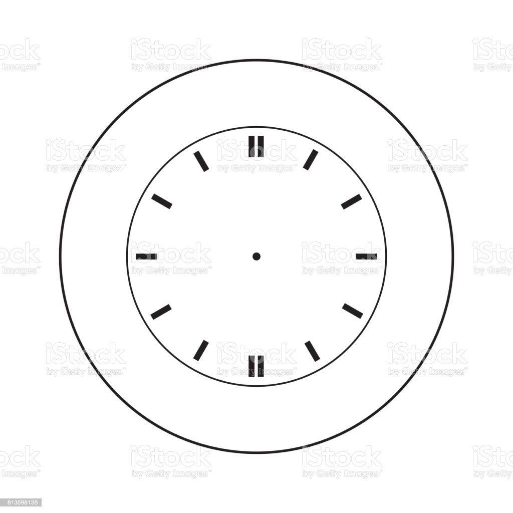 Blank Clock Face Isolated On White Background Vector Stock