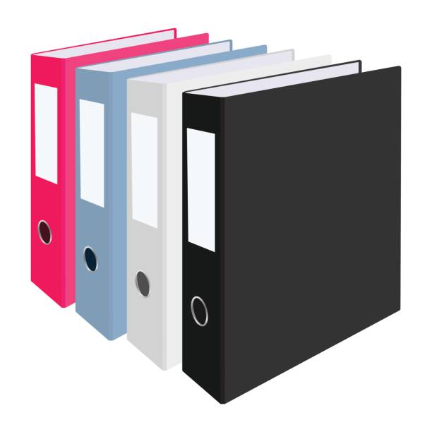 blank closed office binders set isolated on white background. vector illustration. - ring binder stock illustrations