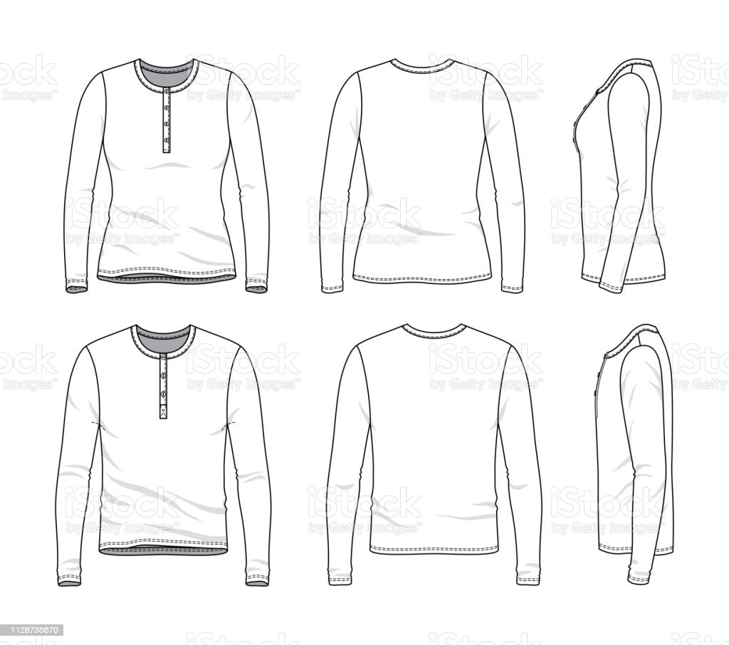 8530b7588a59 Blank clothing templates of long sleeved tee. royalty-free blank clothing  templates of long