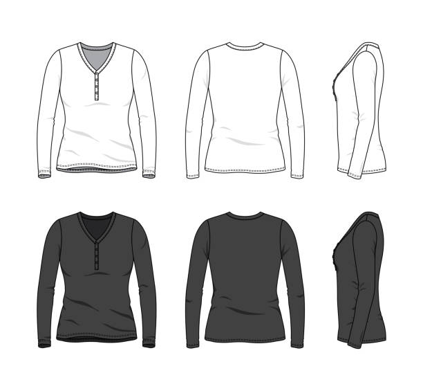 Royalty Free Drawing Of Blank Long Sleeve T Shirt Template Clip Art