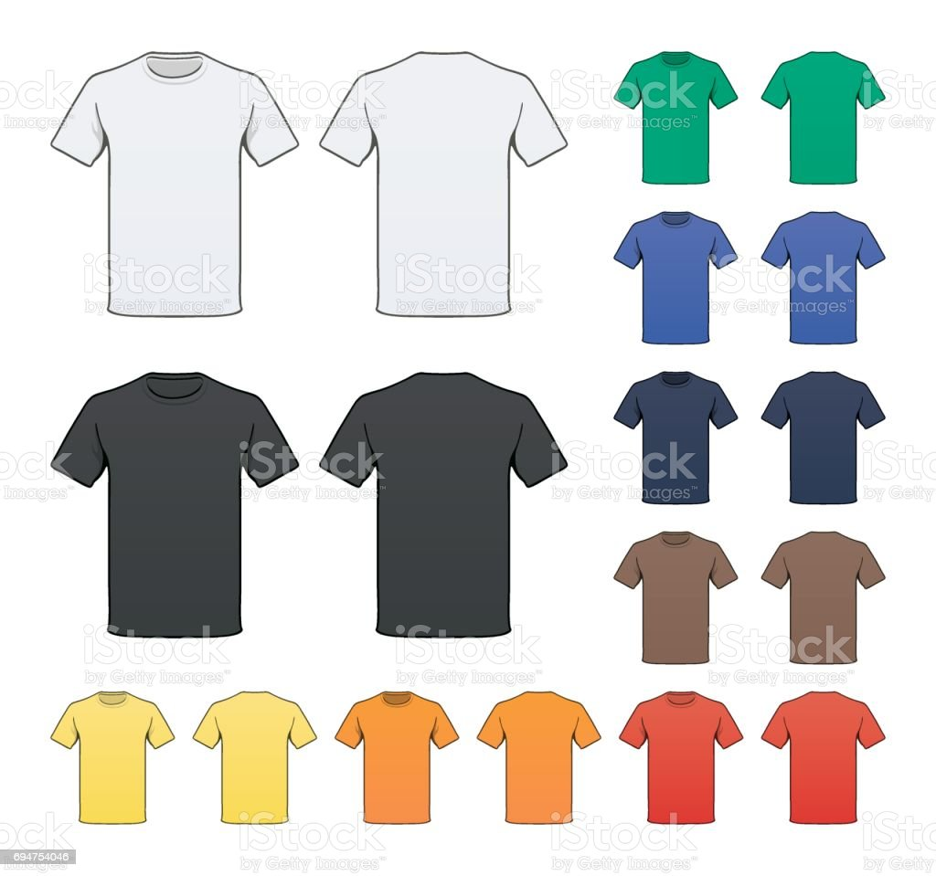 Blank Colored T-shirt template vector art illustration