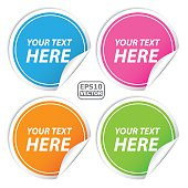 Blank colorful round shape sticker set for business.-eps10 vector