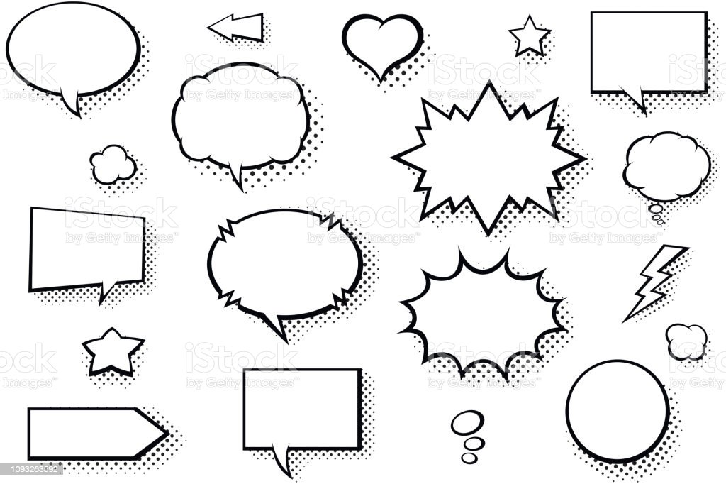 Blank comic books speech bubbles. Black and white speech balloons with halftone pattern shadows - Grafika wektorowa royalty-free (Balon)