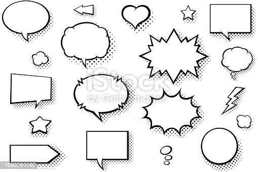 istock Blank comic books speech bubbles. Black and white speech balloons with halftone pattern shadows 1093263592