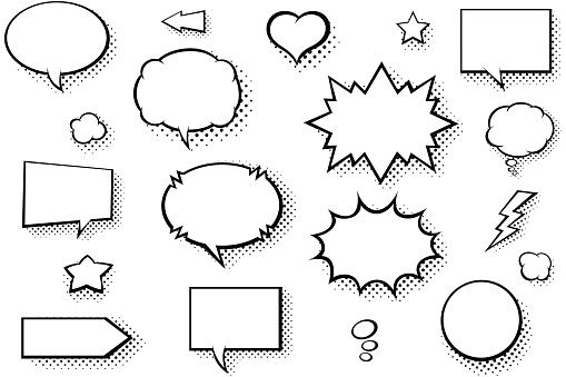 Blank comic books speech bubbles. Black and white speech balloons with halftone pattern shadows clipart