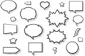 Vector comic books speech balloons carefully grouped in layers panel