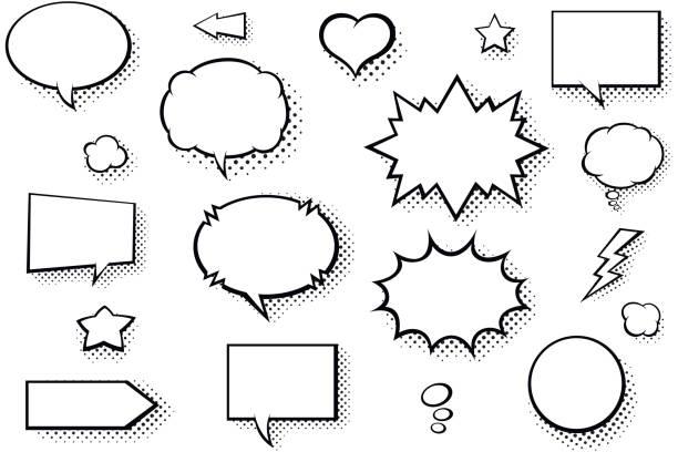 leere sprechblasen comic-bücher. schwarz / weiß-sprechblasen mit halbton muster schatten - blase physikalischer zustand stock-grafiken, -clipart, -cartoons und -symbole