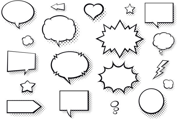 blank comic books speech bubbles. black and white speech balloons with halftone pattern shadows - журнал комиксов stock illustrations