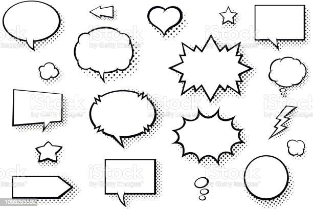 Blank Comic Books Speech Bubbles Black And White Speech Balloons With Halftone Pattern Shadows - Stockowe grafiki wektorowe i więcej obrazów Balon