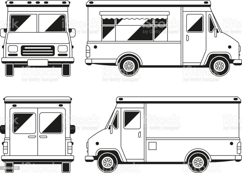 Blank commercial food truck in different points of view outline blank commercial food truck in different points of view outline vector template for you advertising pronofoot35fo Images