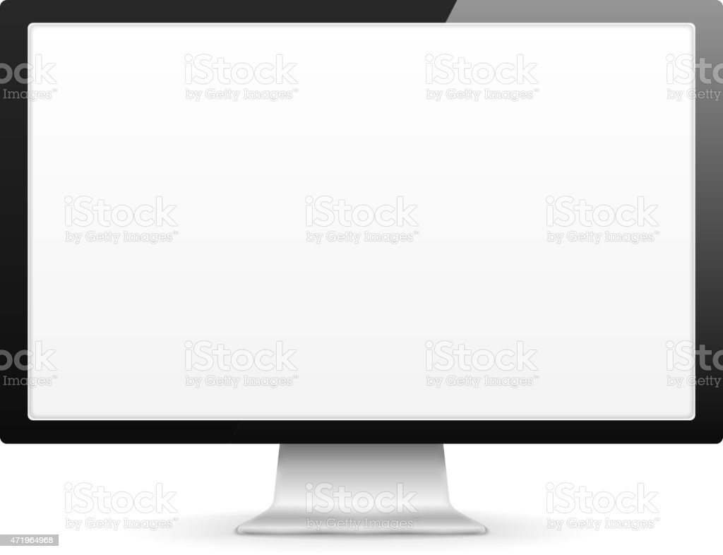 Blank computer monitor on white stand vector art illustration