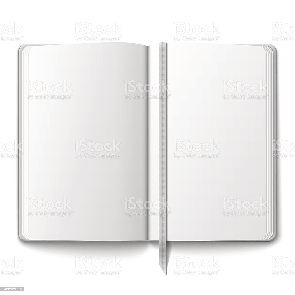 Blank copybook template with bookmark. royalty-free stock vector art