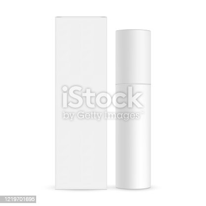 istock Blank cosmetic bottle with paper box mockup isolated on white background 1219701695