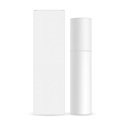 Blank cosmetic bottle with paper box mockup isolated on white background