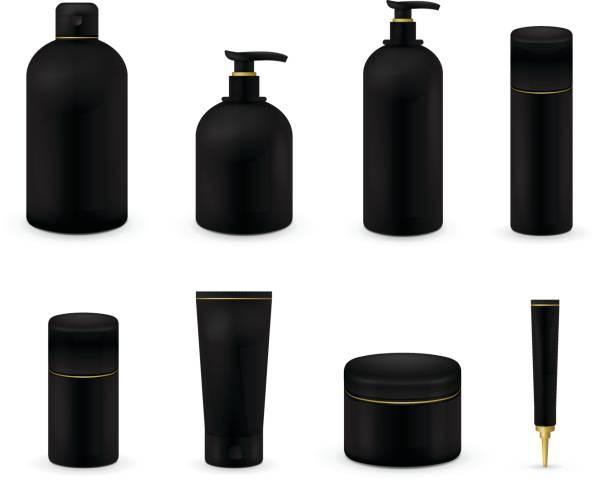 weiße kosmetische-package-set - shampoos stock-grafiken, -clipart, -cartoons und -symbole