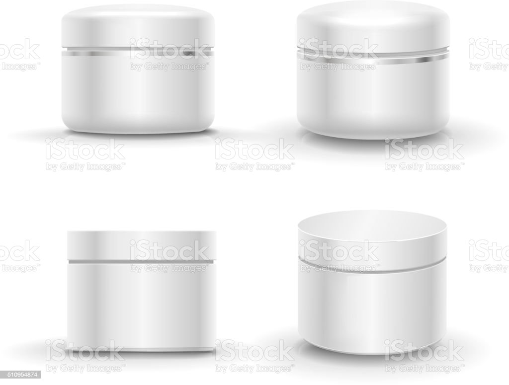 Blank cosmetic package container for cream, powder or gel vector art illustration