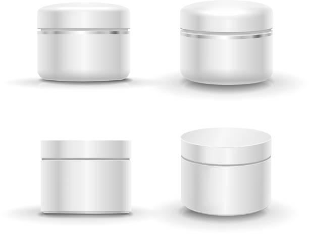 stockillustraties, clipart, cartoons en iconen met blank cosmetic package container for cream, powder or gel - wegkijken