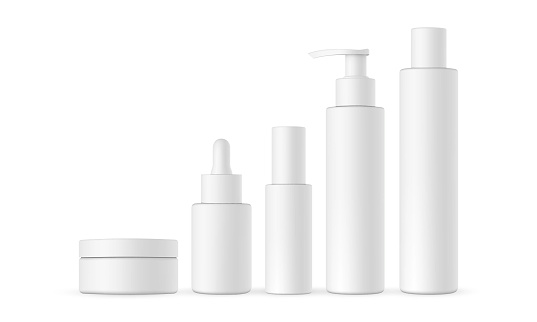 Blank cosmetic packaging mock up: jar, dropper, bottle with press pump, small and high bottles