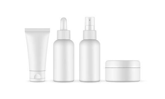 Blank cosmetic packaging mockup: jar, tube, dropper, spray bottle