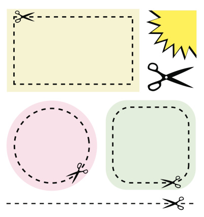 Blank coupon labels on white background