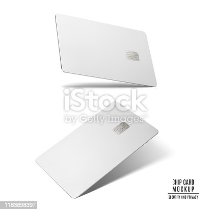 blank credit card with chip isolated mockup on white background. vector 3d illustration