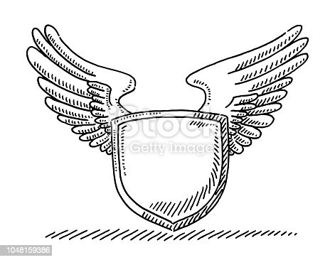 Hand-drawn vector drawing of a Blank Crest With Wings. Black-and-White sketch on a transparent background (.eps-file). Included files are EPS (v10) and Hi-Res JPG.