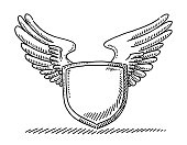 Blank Crest With Wings Drawing
