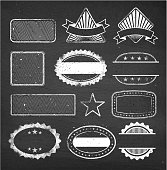 Blank custom vintage badge royalty free vector set. This royalty free vector illustration contains several unique design elements. The set includes badges, crests and insignia graphics. Additional design elements include stars  and laurel. The is plenty of space for copy and the file can be asily customized for all your needs.