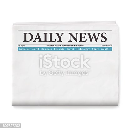 Realistic blank daily newspaper isolated on white background.