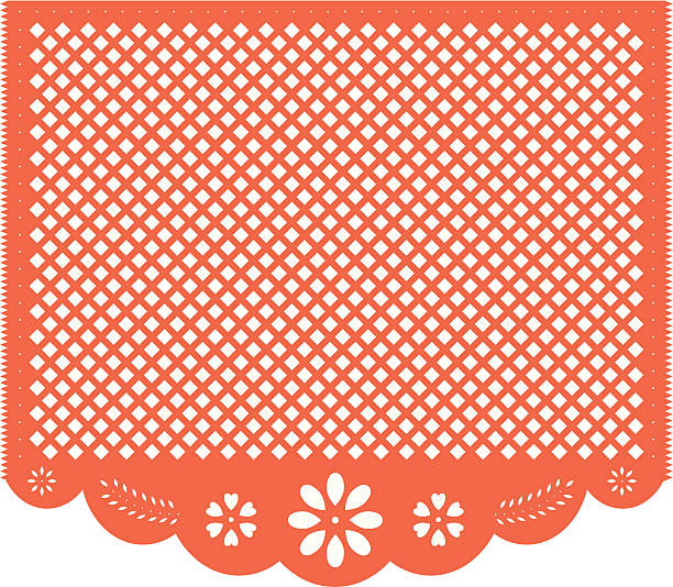 Blank Dia de Muertos Papel Picado vector art illustration