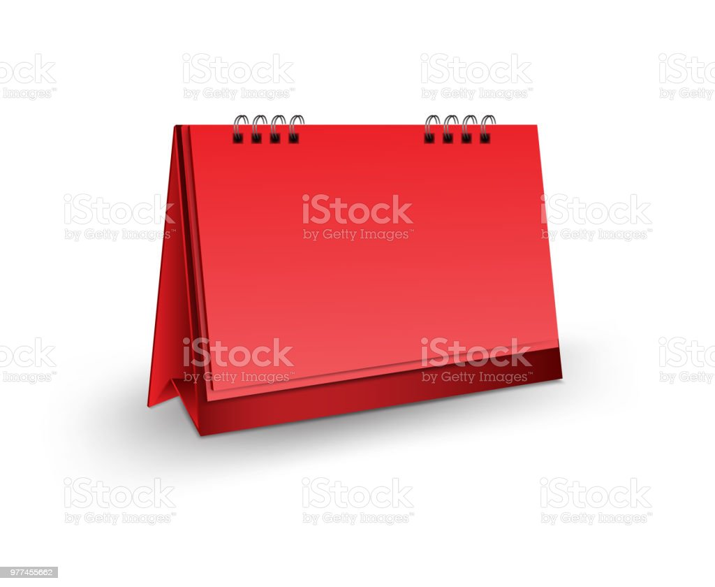 Blank Desk Calendar 3d Mockup Vector Illustration Vertical Realistic