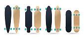 blank different type longboard skateboard deck model vector illustration