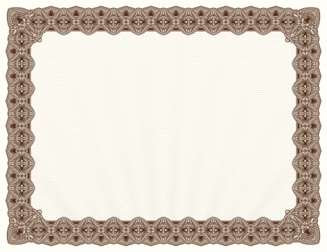 Blank diploma or certificate with brown border