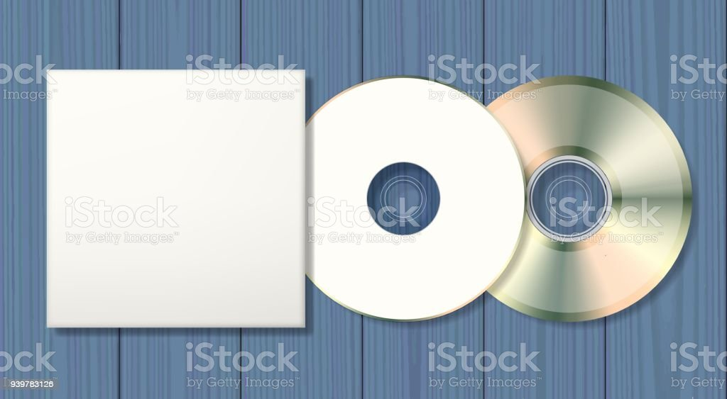 Blank disk and case template vector art illustration