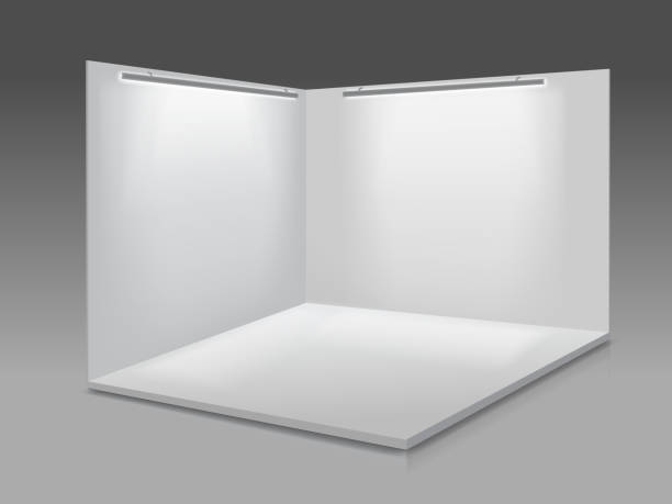 blank display exhibition stand. white empty panels, podium for presentations on the gray background 3d. - empty room stock illustrations