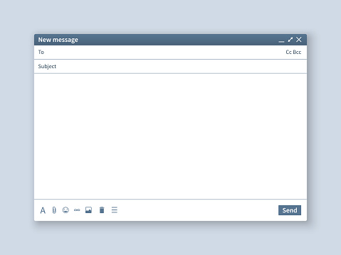 Blank email screen. Mail message interface blank mockup internet window computer, box page web software browser