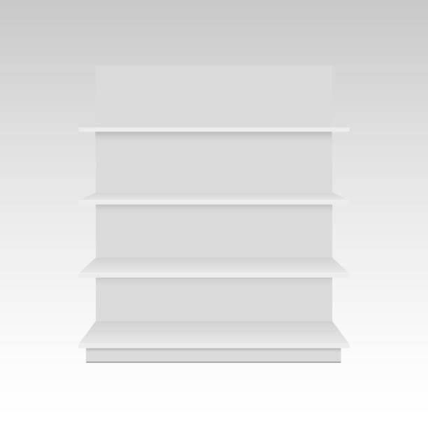 leer leer 3d schaufenster display mit den verkaufsregalen. mock-up vorlage bereit für ihr design. vorderansicht - stoffmarkt stock-grafiken, -clipart, -cartoons und -symbole