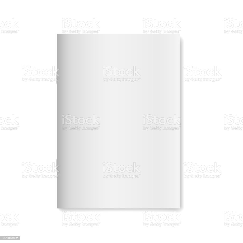 Blank empty magazine or book template isolated on white background. Vector illustration