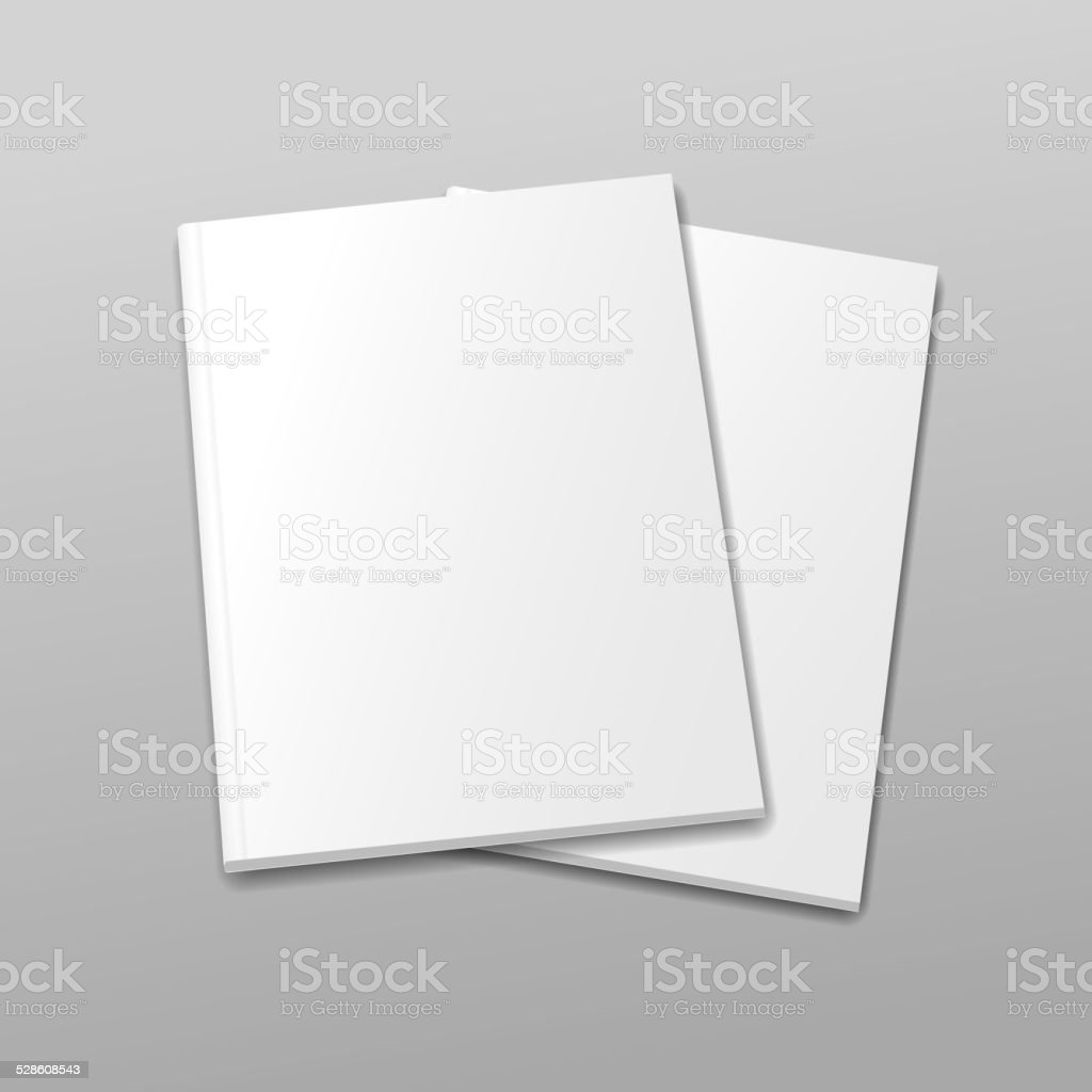 Blank empty magazine or book template  on a gray background. vector art illustration