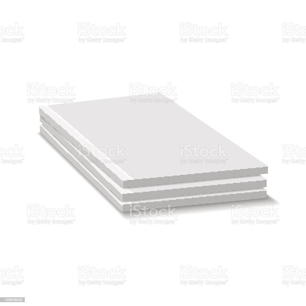 Blank Empty Magazine Or Paperback Book Pile. Three Journals Temp vector art illustration