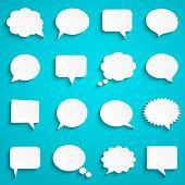 istock Blank empty paper white speech bubbles 938167922