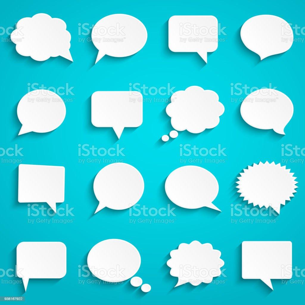 Leer leer Papierweiß Sprechblasen – Vektorgrafik