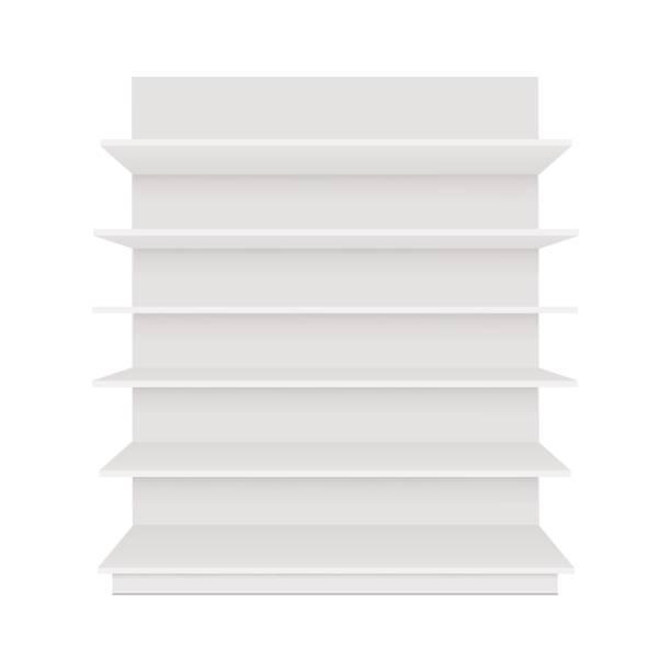 leer leere schaufenster display mit den verkaufsregalen. ansicht von vorne. vektor-mock-up vorlage bereit für ihr design - kastenständer stock-grafiken, -clipart, -cartoons und -symbole