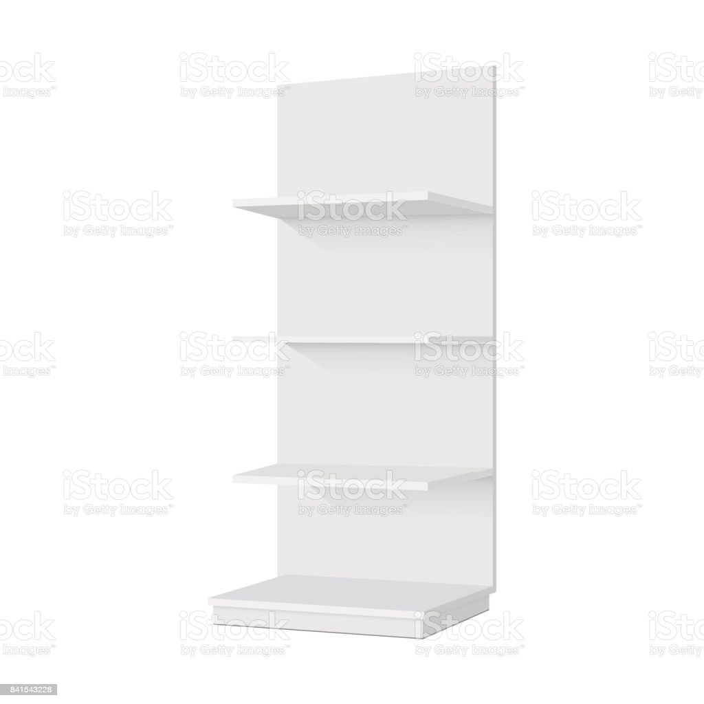 Blank empty showcase display with retail shelves. Front view. Vector mock up template ready for your design vector art illustration